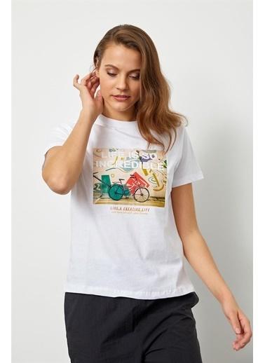 Setre Siyah Baskılı Kısa Kol T-Shirt Ekru